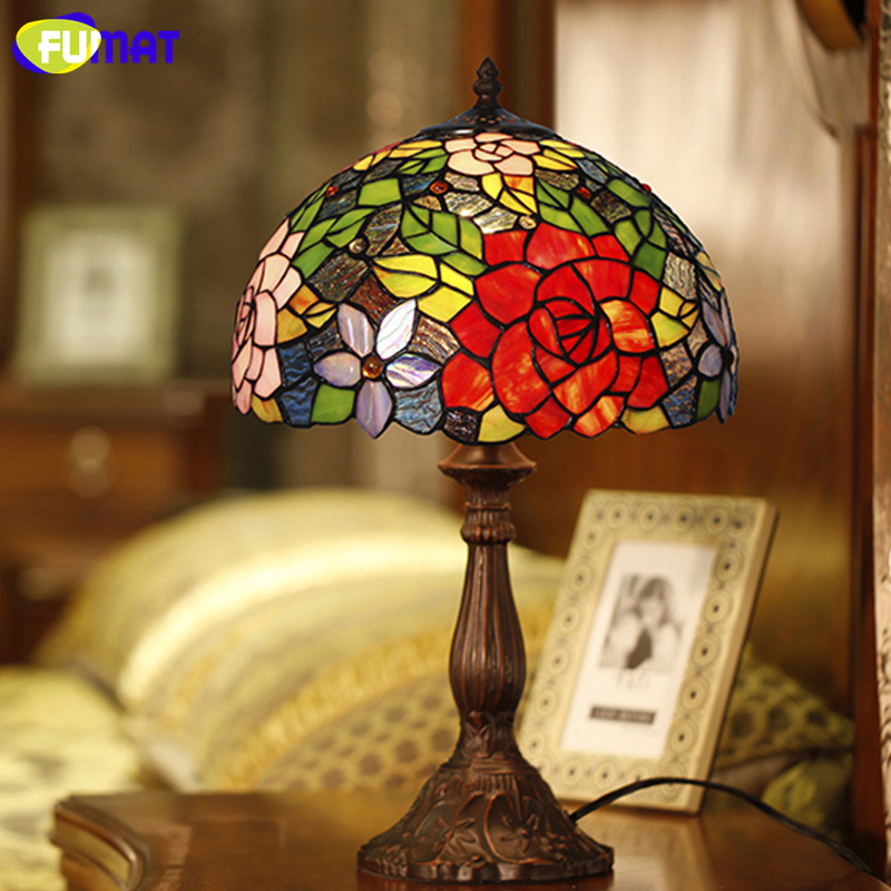 Living Room With Wooden End Table And Tiffany Lamp: FUMAT Glass Art Table Lamp European Style Rose Stained