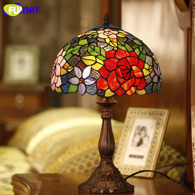 FUMAT Glass Art Table Lamp European Style Rose Stained Glass Lamp Living  Room Hotel Bedside Table