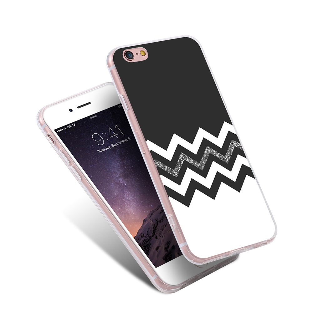 Slim Black White Wavy Pattern Case For Samsung Galaxy Note 5 S7 Samsunggalaxy Edge S5 Mini S6 Plus Iphone 6 6s 5s Se 5c 4