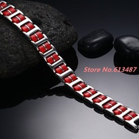 8 46 13mm 35g Top Design Titanium Silver 316L Stainless Steel Red Silicone Chain Men S