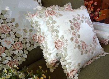 Gorgeous rose series Rural cloth art Chinese  embroidery  pillowcase 45*45cm  Pillowcase cushion for leaning on