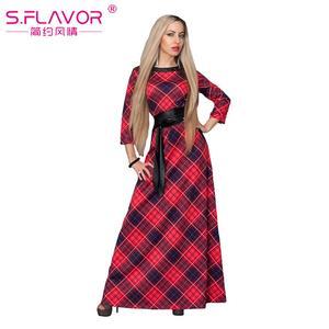 Image 5 - S 。味クリアランス販売の女性のプリントロングドレスエレガントな 3/4 スリーブ O ネック Vestidos 女性女性の秋のドレス