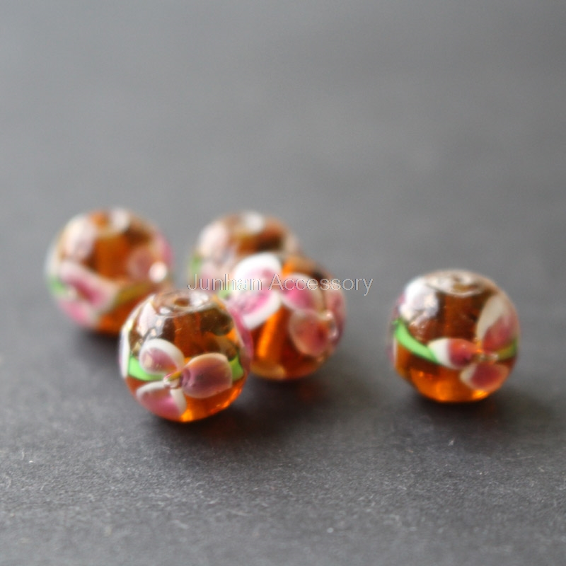 10Pcs 12mm Handmade Glass lampwork beads 3 Flower Simply Brown Color for jewelry making Wholesale and Retail