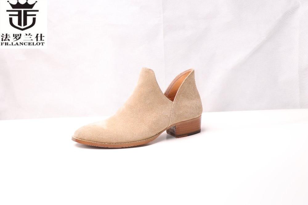 FR.LANCELOT 2018 men Chelsea boots real leather suede boots British Style beige color ankle shoes low top walking men boots