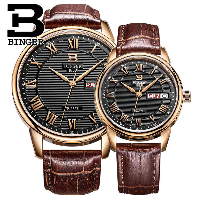 Classic Stripe Watch Couples Quartz Watch Week Calendar Roman Number Vintage Wrist Watch Real Leather Strap Montre Homme Femme