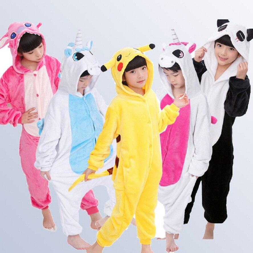 Kigurumi Unicorn Boys Girls Pajamas Autumn Winter Children Pyjamas Flannel Animal Stitch Kid Onesie Sleepwear For 4 12 Y