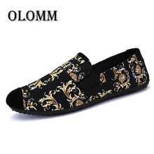 Spring Fashion New Men's Shoes Casual Trend Canvas Shoes Comfortable Breathable Soft Bottom Peas Shoes Fashion Printed FlatShoes