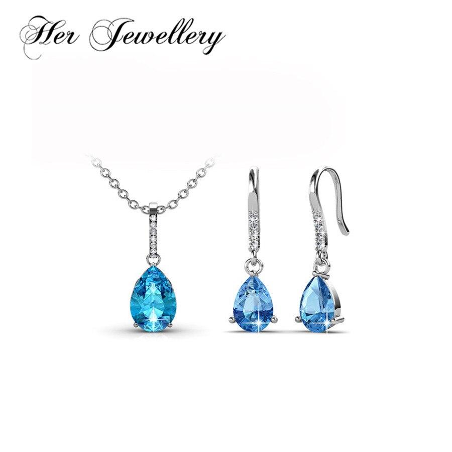 Son ensemble de bijoux en cristal goutte d'eau bijoux d'anniversaire pour femmes fait avec des cristaux de Swarovski HS090