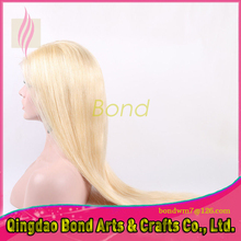 Nice #613 blonde virgin Brazilian hair straight 100% unprocessed blonde full lace human hair wigs with natural hairline