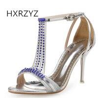 HXRZYZ Women Sandals Rhinestone Heels Wedding Dress Shoes 2017 New Fashion Elegant Summer Thin Heeled Buckle