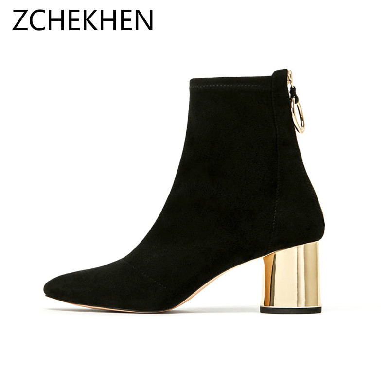 2019 Autumn Winter gold round heel Chelsea Boots Women Ankle Boots flock Martin Boots Woman Vintage Fashion Botas Mujer rasmeup women chelsea boots autumn winter elastic band ankle boots shoes low square heel martin boots vintage fashion boots