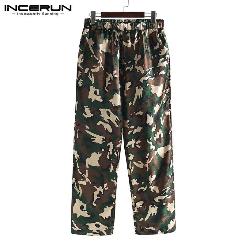 INCERUN 2019 Silk Satin Men Sleep Pants Pajamas Camouflage Print Loose Comfort Soft Men Sleep Bottoms Lounge Pants Hombre S-5XL