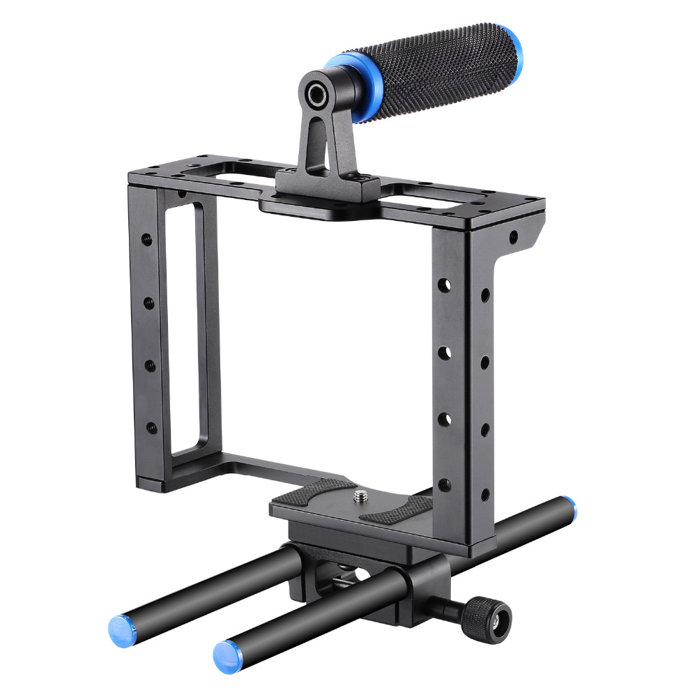 Neewer Camera Video Cage Film Movie Making Kit for Canon Nikon Sony and Other DSLR Cameras to Mount Matte Box Follow Focus black neewer follow focus with gear ring belt for canon and other dslr camera camcorder dv video fits 15mm rod film making system