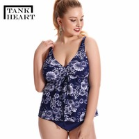 Tank Heart 7XL 10XL Plus Size Bathers Swimsuit Women With Shorts Tankini Set Bathing Suit 3 Pieces Swimwear Female Beach Biquine