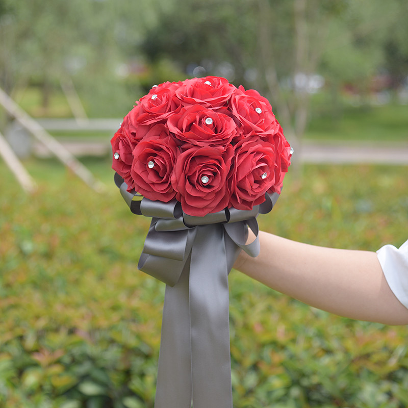 2018 Handmade Artificial Flower Rose Rhinestone Bouquet for Wedding Decoration Fake Flowers Bridesmaid Hand Holding Bouquet