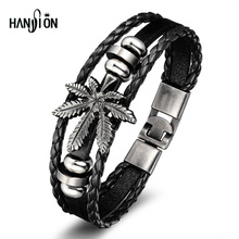 Hanson Fashion Leather Bracelet For Men Palm Leaves Vintage Bracelets Bangles Girl Statement Bracelet Leaf