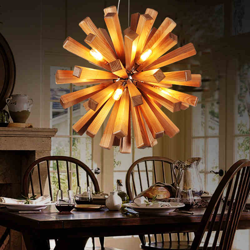 2017 Sale Luminaria Northern Europe Designer Restaurant Cafe Solid Wood Dandelion Pendant Lights Modern Home Decoration Lamps