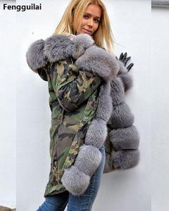 Image 3 - Bontjas Europese Amerikaanse Lange Hoed Camouflage Jas Herfst Winter Mode Stijl Nieuwe Temperament Jacket Slim Warm vrouwen Jas
