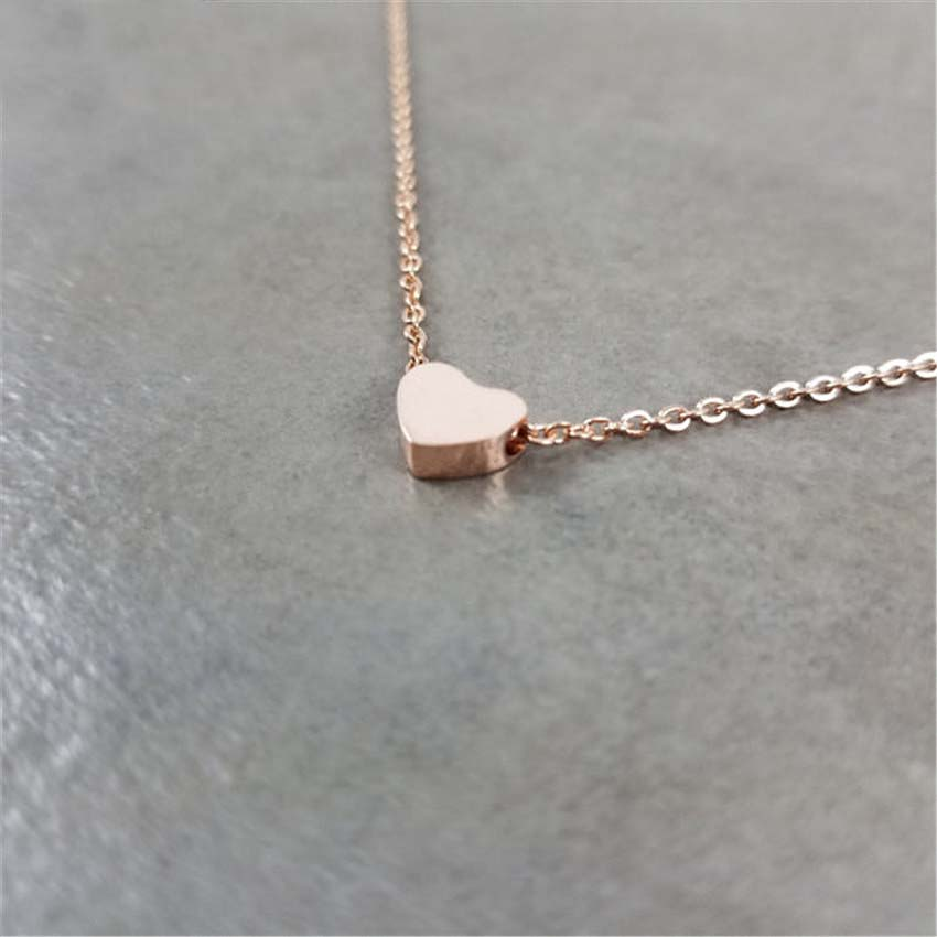 Stainless Steel Brushed Heart Necklace Women Boho Jewelry Stainless Steel Chain