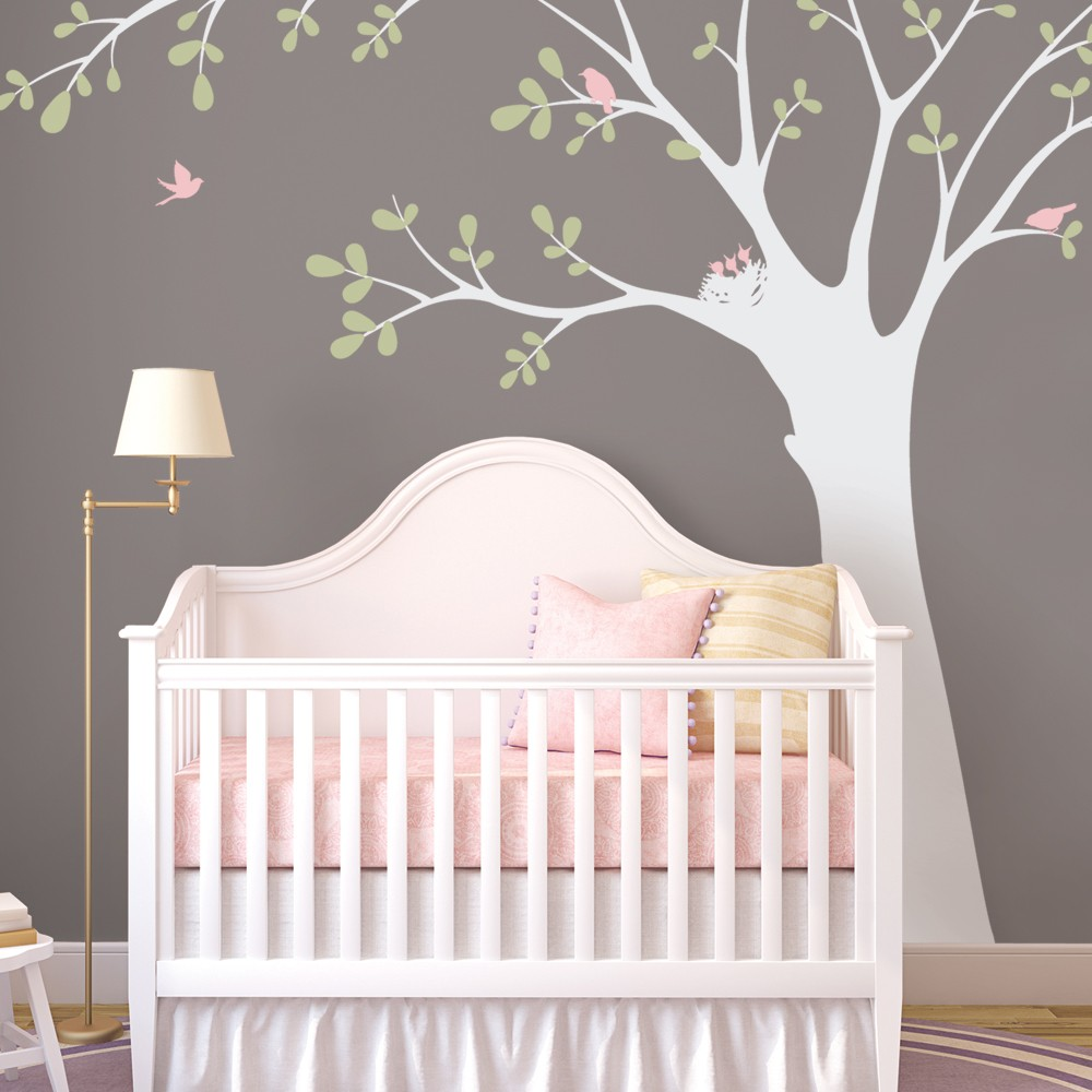birds and big tree wall stickers decor baby kids room wall decals