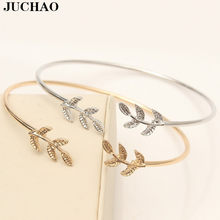 JUCHAO Open Leaf Bracelet Femme Charm Gold Cuff Bracelets for Women Female Fashion Jewelry Bangles Stainless Steel(China)