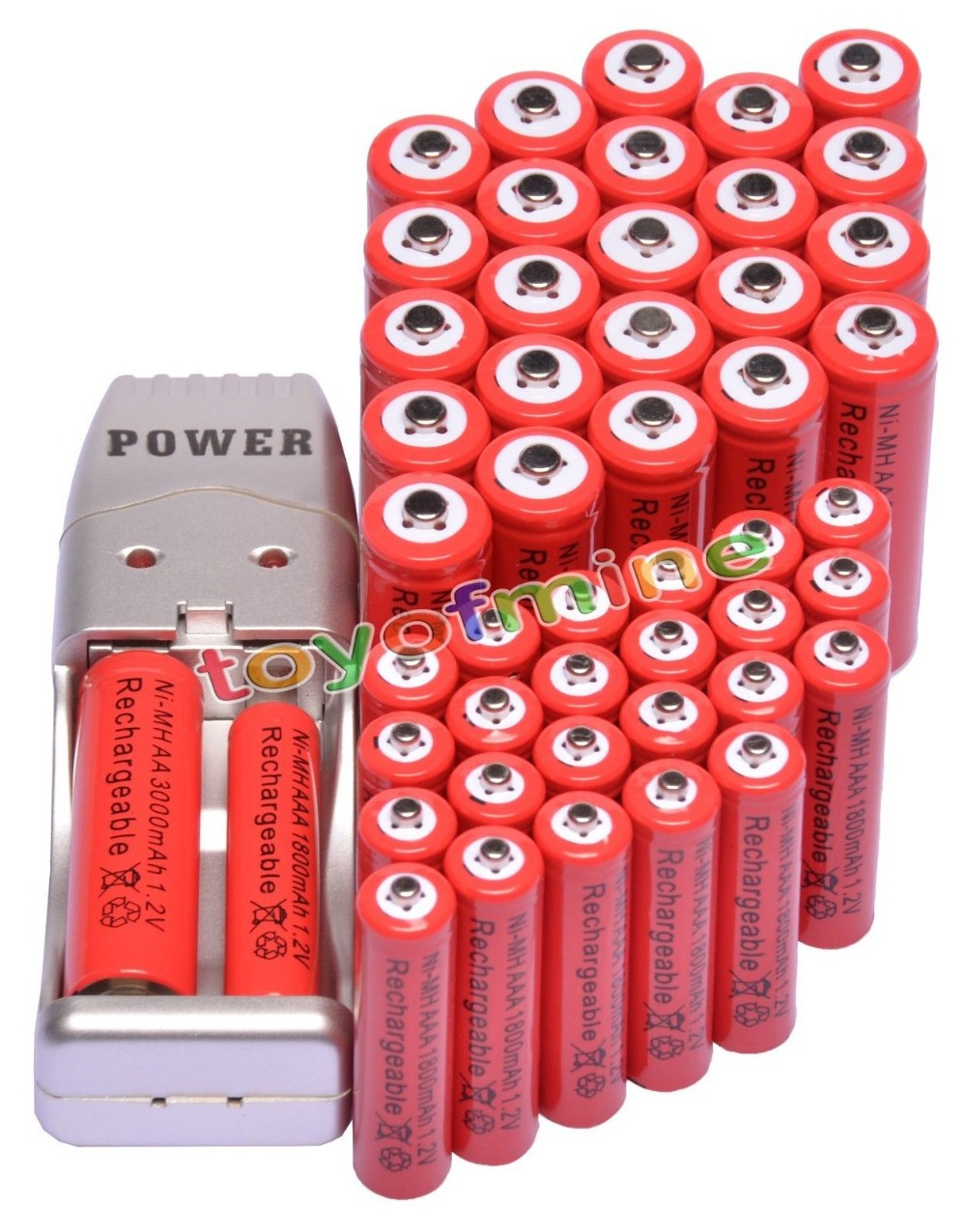 24x AA 3000mAh + 24x AAA 1800mAh 1.2V Red Color Rechargeable Battery+ 2A 3A Battery USB Charger