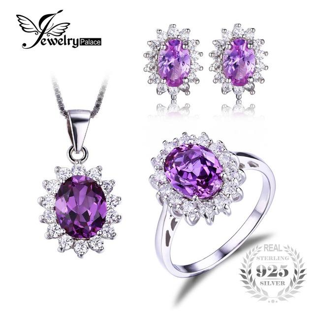 Sistema de la joyería de princesa diana william engagement wedding jewelrypalace alejandrita creado zafiro joyería de plata esterlina 925