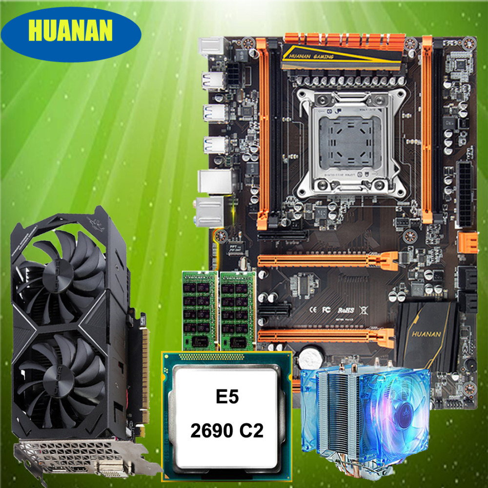 HUANAN ZHI deluxe X79 motherboard with M.2 NVMe slot CPU Xeon E5 2690 C2 with cooler RAM 16G(2*8G) RECC GTX1050Ti 4G video card цена