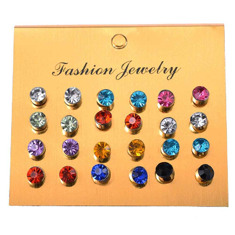 Best Selling Women's Earrings One Card Multi-color Small Fresh Color Flash Small Earrings - Picture Color