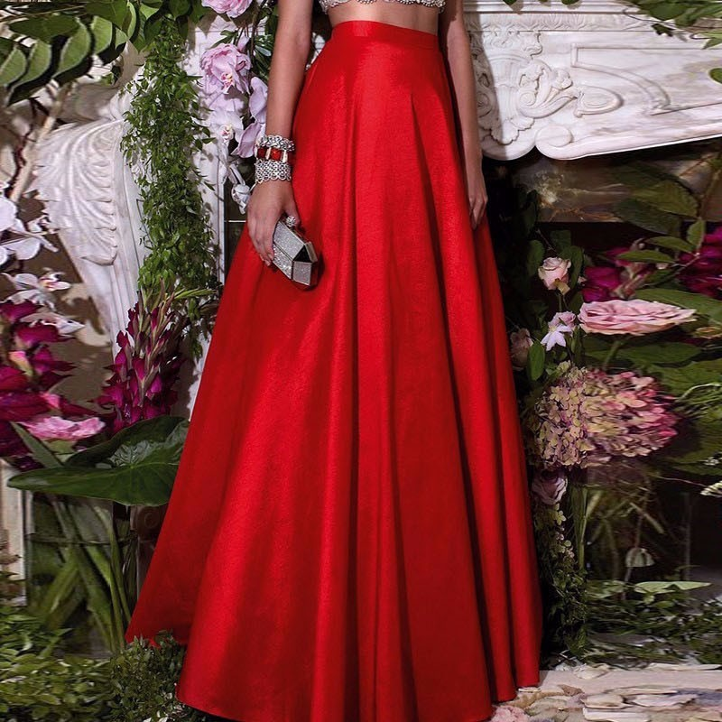 Formal Chic Hot Red Floor Length Skirts For Women To Formal Party Taffeta Long Skirts Fashion Zipper Style Custom Made gown