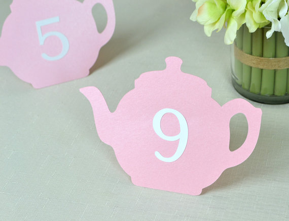 1 20 Teapot Shaped Numbers Place Cards Wedding Bridal Baby Shower
