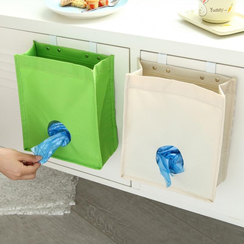 Creative Storage Bag Sundries Disposable Bag Organizer Trash Can Storage Hanging Rubbish Holder Oxford Kitchen Accessories JSX