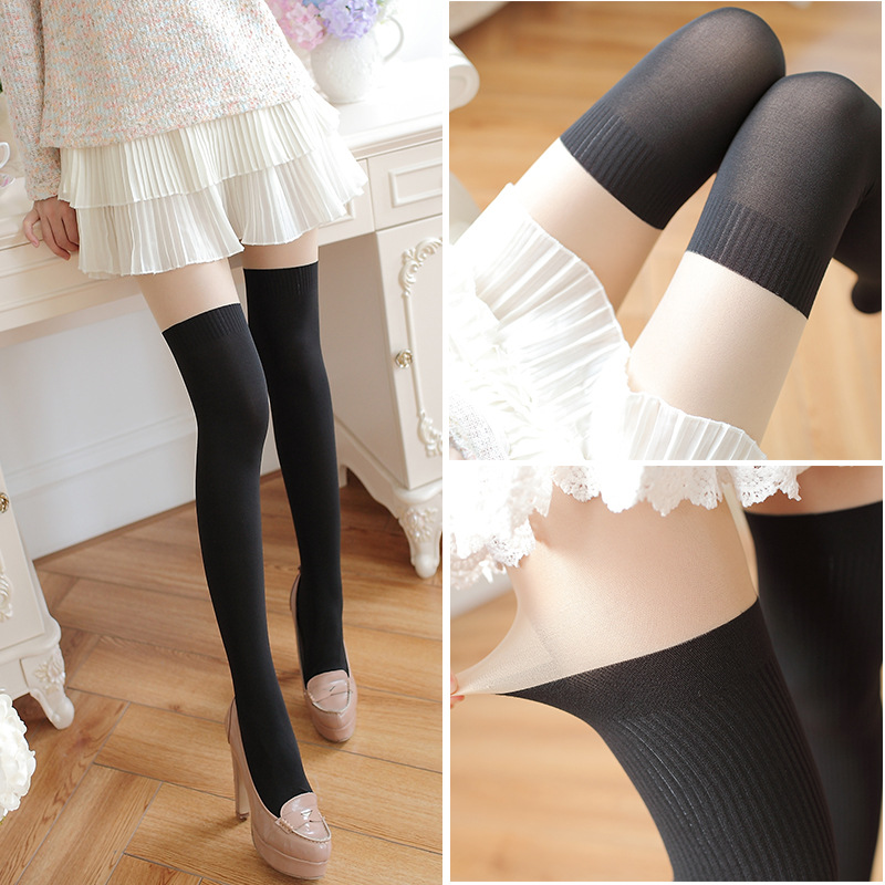 2017 spring womens tights high quality casual jacquard knit stitching velvet pantyhose for women 70 Denier