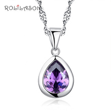 Classic 2.84ct Waterdrop Natural Amethyst 925 Sterling Silver Chain Necklace Pendant Fashion Fine Jewelry SN106