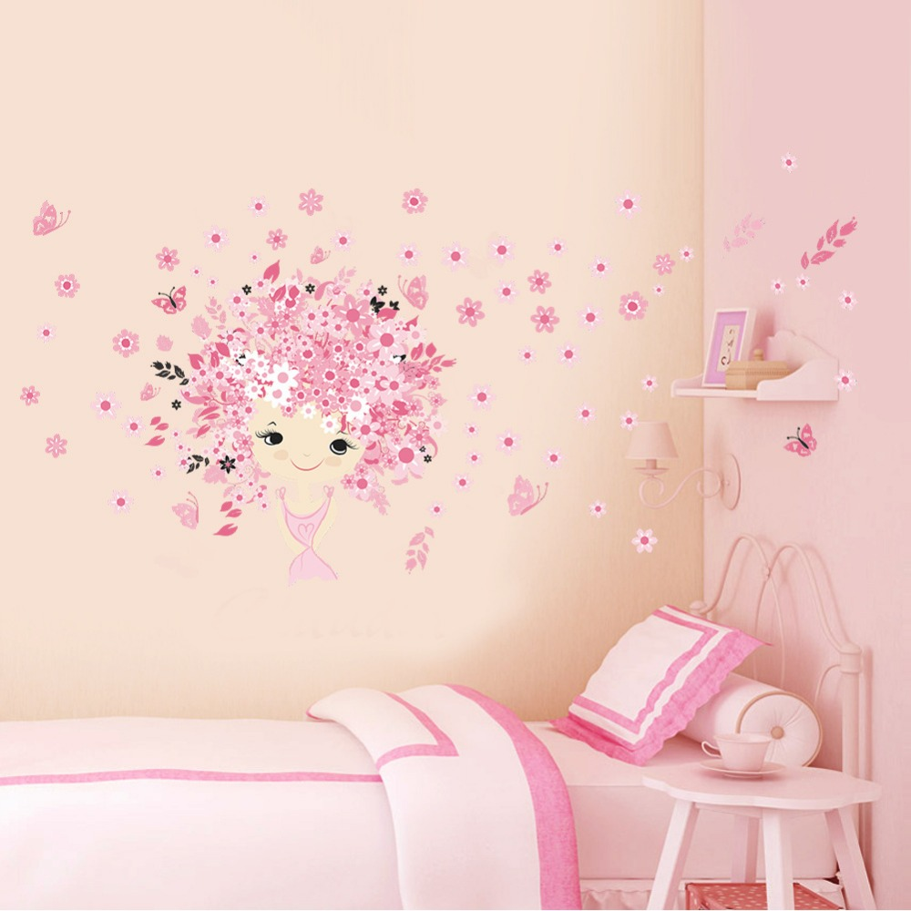 online get cheap mermaid baby room aliexpress com alibaba group flower flower fairy pink cute baby girl mermaid butterfly home decor wall sticker for girls baby kids room wall art diy poster