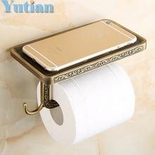 Стеллаж для хранения ванная комната Античная Латунь держатель для туалетной бумаги ванной мобильный держатель туалетной бумаги, держатель YT-1492