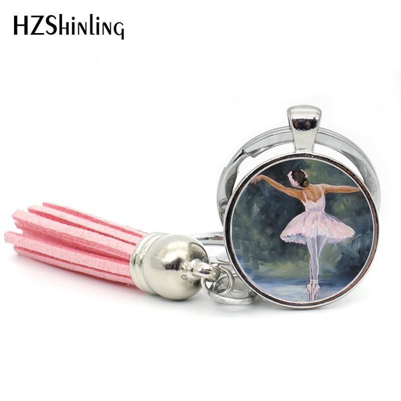2017 Ballerina Art Keyring Tassel Key Chain Ballerina Portrait Bigital Art Dancer Silhouette Art Key Ring Ballet Dancer Keychain