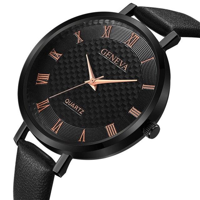 Thin Leather Watch Women Bracelet Watches Fashion Roman numerals Geneva Quartz-W