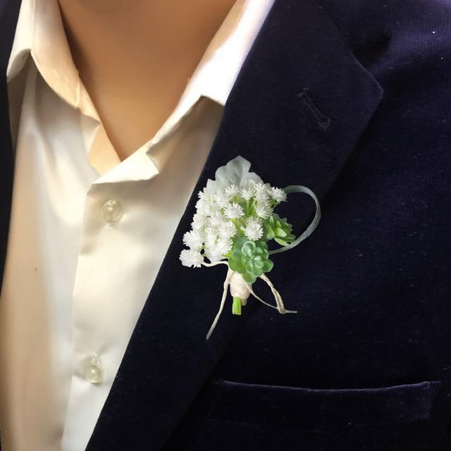 Men Wedding Flowers Brooch Babysbreath Man Corsage For Groom Groomsman Suit Boutonnieres Pin Decoration
