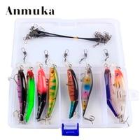 Anmuka 8Pcs/Set Bright Colorful 8.8cm 7.4g Hard Bait Minnow Fishing Lures 3D Fish Eyes Hooks Diving Perch Wobbler Fishing Tackle