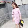 chifave New Autumn Winter Girls Knitted Dresses Baby Girls Clothing Fashion Long Sleeve Solid Knit Slim Dresses Children Dress