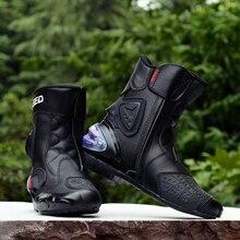 Botas de couro e microfibra, sapatos com pé na motocicleta, para motociclista, corrida, motocross