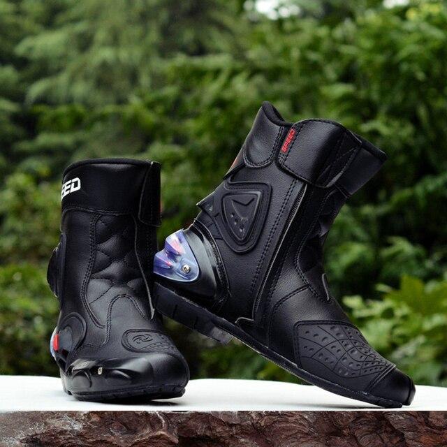 Sürme kabile mikrofiber deri motosiklet botları Pro biker hız Bikers Moto yarış Motocross ayakkabı