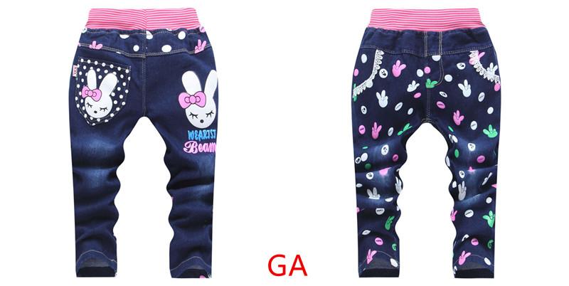 новый весна-осень джинсы для маленьких девочек с рисунком Китти кролик брюки детские повседневные штаны розничная продажа от 2 до 5 лет бесплатная доставка