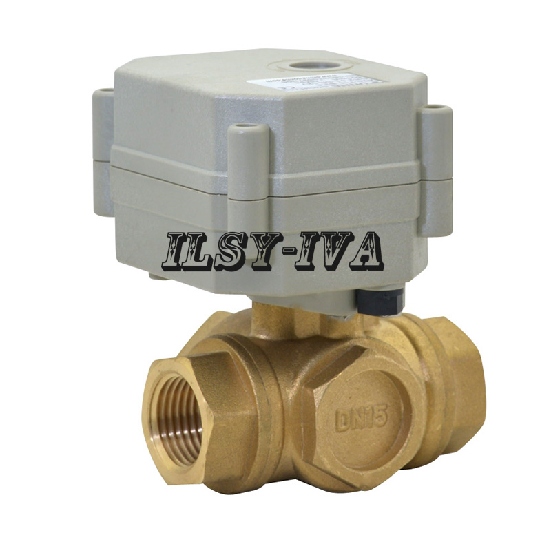 Brass electric ball valve three way,DN15 Motorized ball valve with signal feedback dn50 ac220v electric actuator brass ball valve cold