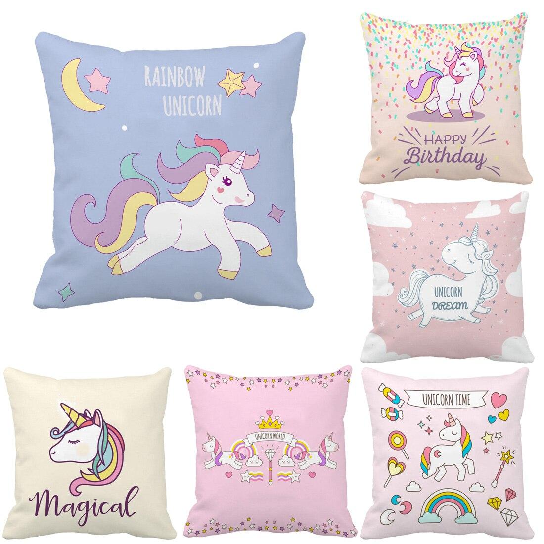 Cartoon Unicorn Print Custom Cute <font><b>Cushion</b></font> For Sofa Car Vintage Throw Pillow <font><b>Home</b></font> Decor Cojines Decorative Pillows For Gift
