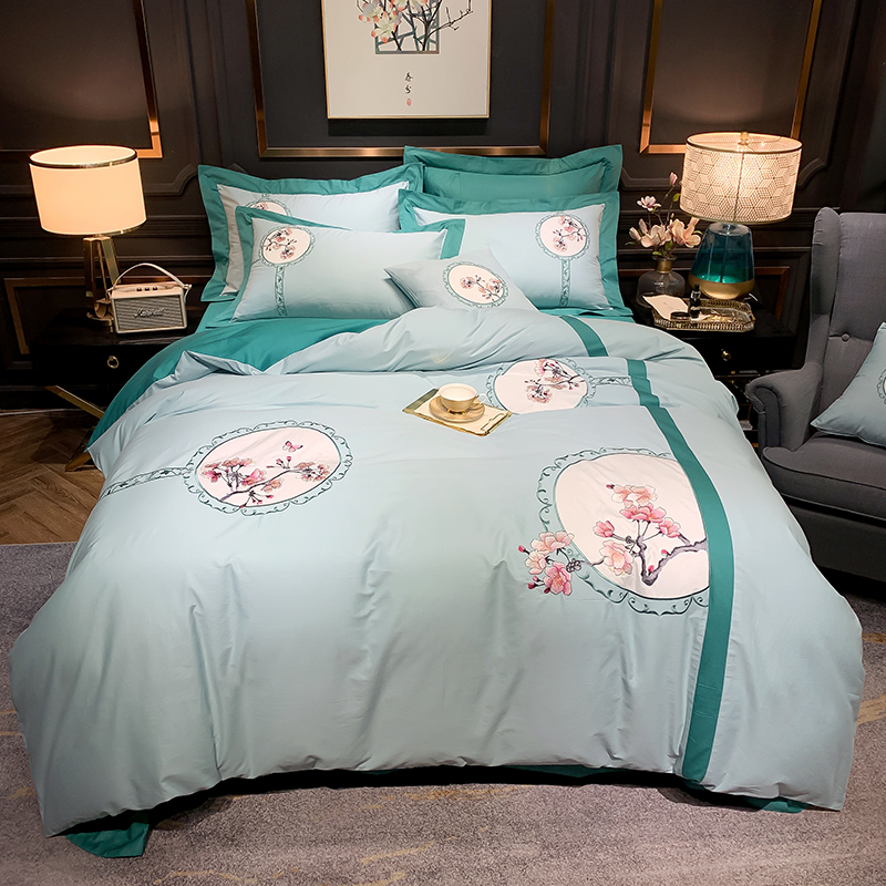 New Luxury Chinese Style Classical Flowers Embroidery 60S <font><b>Egyptian</b></font> <font><b>Cotton</b></font> <font><b>Bedding</b></font> <font><b>Set</b></font> <font><b>Duvet</b></font> Cover Bed sheet/Linen Pillowcases image