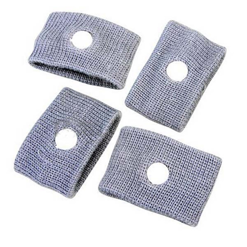 4pcs/pack Reuseable Washable Travel Wrist Bands Anti Nausea Car Auto Sea Sick Sickness Grey Brand New