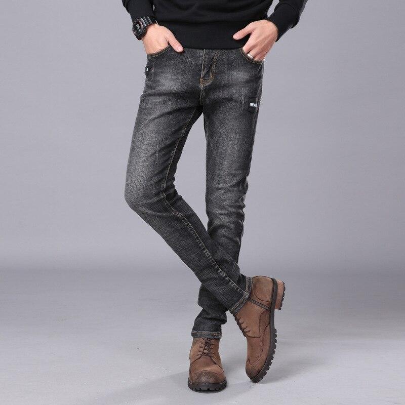 2018 New Men Skinny Cotton Jeans Stretch Fashion Classic Dark Blue Slim Brand Jeans Male Trousers Plus Size