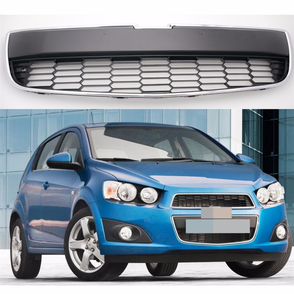 1Pcs Front Bumper Lower Honeycomb Mesh Grill Radiator Grille For Chevrolet Aveo 2011-2016 for 10 14 vw golf tdi jetta mk6 honeycomb mesh lower front grille grill abs usa domestic free shipping hot selling